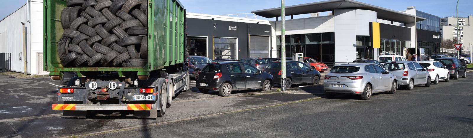 Collecte de pneus usagés par le GIE France Recyclage Pneumatiques